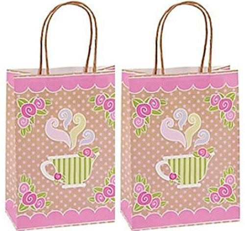 (12 pack - Tea Party Kraft Paper Gift Bags )