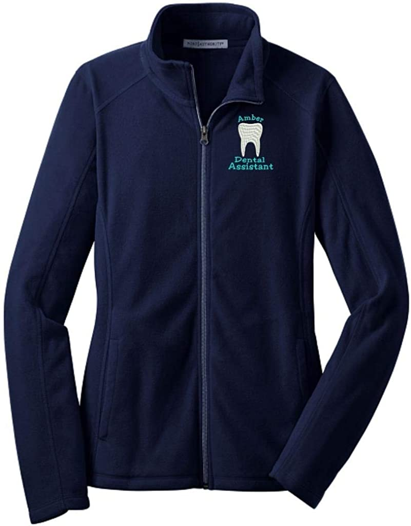 Why Not Stop N Shop Personalized Dental Assistant Full Zip Microfleece Jacket with Pockets