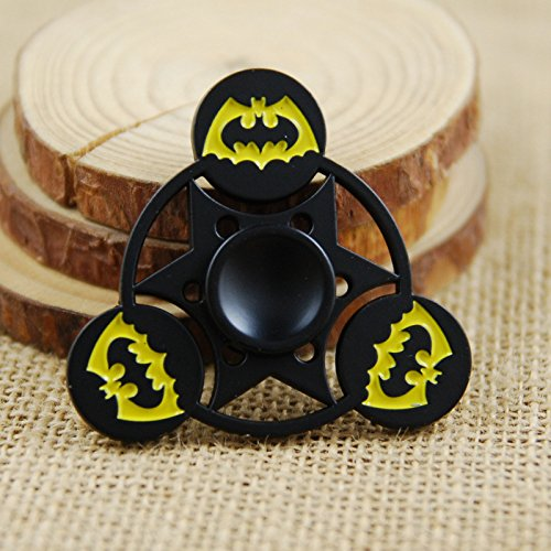 Batman Fidget Spinner, Smooth Custom Tri Spinner Bat Man Hand Spinner with Ceramic Bearing, Metal and Durable. Stress Reducer Toy & Perfect for ADHD, ADD, Anxiety (Black) at Gotham City Store