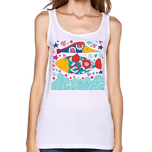 (Women's Cartoon Creative Colored Fish Casual Sleeveless Vest Novelty Tank Tops Graphic Tee)