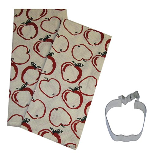 Mixed Apple Kitchen Decor Gift Set - Apples Cotton Waffle Weave Dish Towels and Cookie Cutter Bundle (3 (Apple Dish Set)