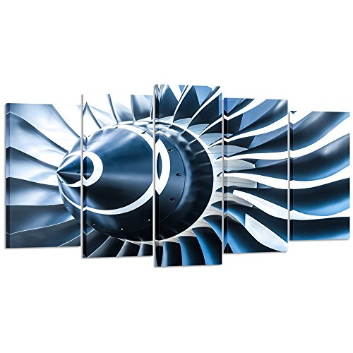 Kreative Arts - Canvas Prints Jet Engine Art Wall Decor 5 Panel Large Turbine Plane Propeller Pictures Print on Canvas Framed Ready to Hang for Office Decor (Large Size 60x32inch) by Kreative Arts