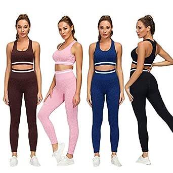 DONYKARRY Dam 3 delar sömlösa kläder träningskit, gym löpning yoga sportkläder 3 delar träningsdräkt leggings och stretch sport-bh gym jumpsuit kläder set mammor gåvor