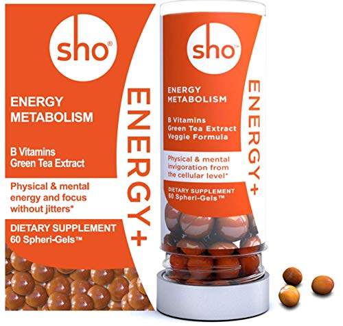 Sho ENERGY+ Refill: Vitamin B Complex B12, Folic Acid, B6, B2, B1 Matcha & Light Caffeine for Sustained Energy with Calm Alertness, 60 Small (1/4 inch) Spheri-Gels for Women and Men, Refill Pack