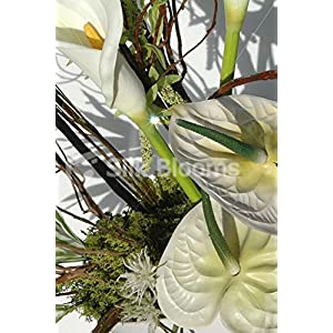 Large, Modern Green & Cream Anthurium & Calla Lily Vase Display 2