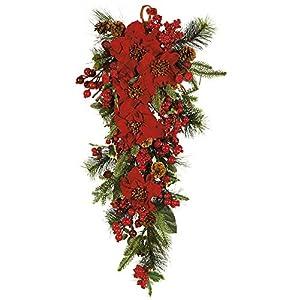 GREATHOPES Poinsettia Teardrop Decoration Silk Flowers 62