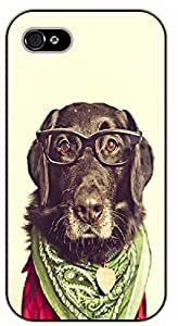 iPhone 4S Hipster dog with glasses and green scarf - black plastic case / dog, animals, dogs