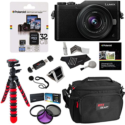 Panasonic DC-GX850KK LUMIX 4K Mirrorless Ilc Camera Black, 12-32mm Mega O.I.S. Lens, Polaroid 32 GB Micro SD, Polaroid Filter Kit and Accessory (Mega Accessory Bundle)