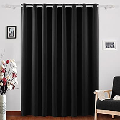 Amazon.com: Deconovo Grommet Top Blackout Curtains Wide Curtains Window  Curtains For Bedroom 80 X 84 Inch Black 1 Panel: Home U0026 Kitchen