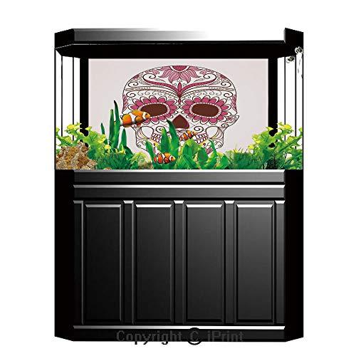 Fish Tank Background Decor Static Image Backdrop,Sugar Skull Decor,Mexican Ornaments Calavera Catrina Inspired Folk Art Macabre Decorative,Pink Light Pink White,Underwater Ecosystem Photography Backdr -