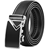 Vbiger Leather Belts for Men with Automatic Buckle Longer than 47inch (47.2'', Black 2.)