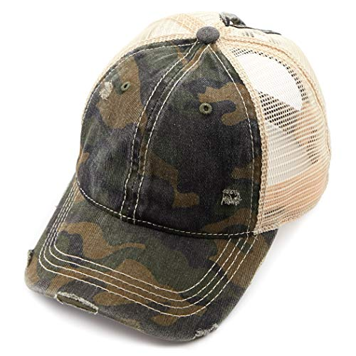 (C.C Exclusives Hatsandscarf Washed Distressed Cotton Denim Ponytail Hat Adjustable Baseball Cap (BT-15) (Olive/Camo))