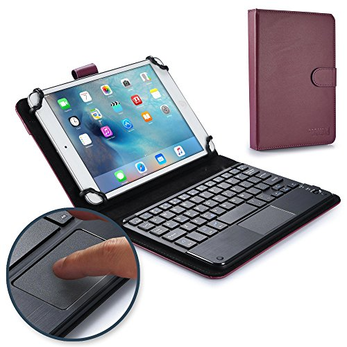Google Nexus 7 keyboard case, COOPER TOUCHPAD EXECUTIVE 2-in-1 Wireless Bluetooth Keyboard Mouse Leather Travel Cases Cover Holder Folio Portfolio + Stand Grouper ME370T (Purple)