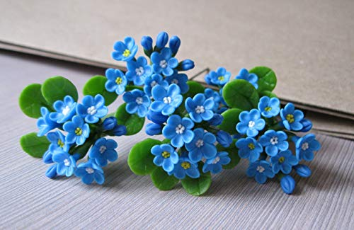 Forgetmenot flower hair pin Light sky blue wedding Bridal hair accessories Bridesmaids gift Maid of honor hairstyle Spring Summer Handmade floral hair jewelry Realistic tiny blossoms