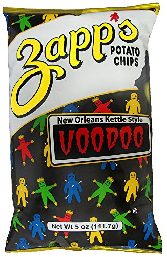 Zapp's New Orleans Kettle-Style Potato Chips, Voodoo Flavor - Crunchy Chips with a Spicy Kick, Great for Lunches or Snacking on the Go, 5 oz. Bag (Pack of 12)
