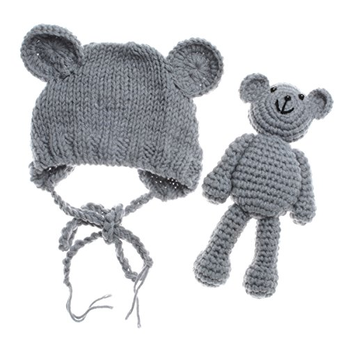 ECYC Newborn Baby Bear Hat Beanie with Bear Dolls Photography Accessories Grey ()