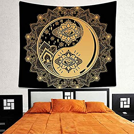 Amazon.com: Yin Yang Tapiz de pared Mystical Sign Mandala ...