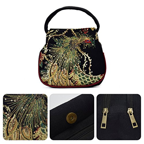 Embroidery Black Bag JAGENIE Retro Blue Phone Canvas Ethnic Small Peacock Pouch Handbag Case Women tfqwfZR