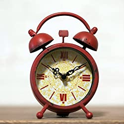 Distressed Red Metal Table Clock