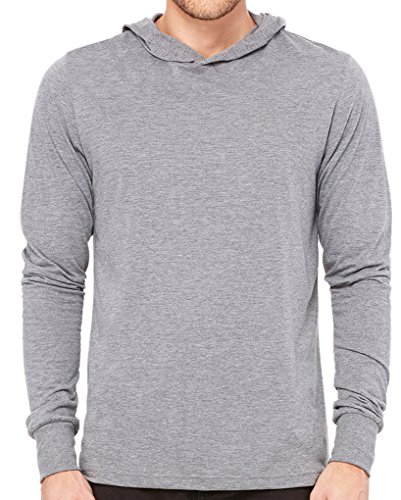 Yoga Clothing For You Mens Lightweight Long Sleeve Hoodie Tee Shirt, 2XL Grey Triblend