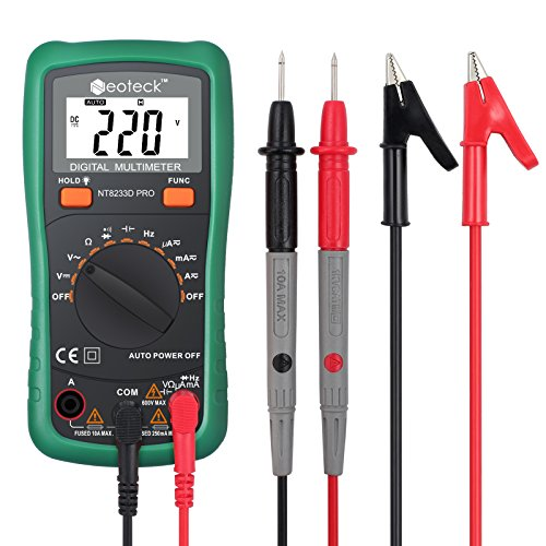 Neoteck Pocket Digital Multimeter 8233D PRO 2000 Counts Auto Range Multimeters Digital Multi Tester-DC Current Resistance Diodes Transistor Audible Continuity Tester with Backlit LCD-Green (Auto Range)