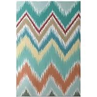 E By Design Ikat-Arina Stripe Print Rug, 3 by 5-Feet, Jade