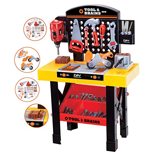 Toy Tool Workbench for Kids Construction Workshop Toolbench Workbench Workshop Toy playset pretend Play Work Bench Junior Power Tool Workshop by FUBABY