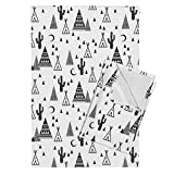 Roostery Southwest Cactus Tri Triangle Tipi Teepee Baby Tea Towels Black and White Tipi Night Sky by Charlottewinter Set of 2 Linen Cotton Tea Towels