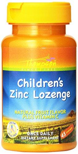 Thompson Children's Zinc Lozenges with Natural Fruit Flavor Plus Vitamin C,  5 Mg, 45Lozenges (Pack of 3)