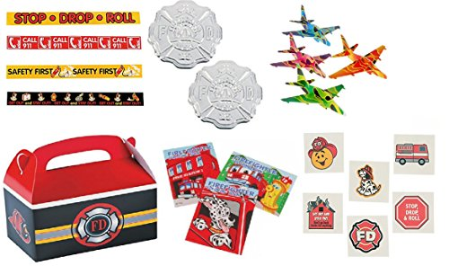 Fireman/Hero/ Fire Awareness Party Favor Bundle Set for 12 (Bundles Kindling)