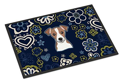 (Caroline's Treasures BB5111MAT Blue Flowers Jack Russell Terrier Indoor or Outdoor Mat 18x27 doormats, Multicolor)
