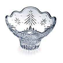 Celebrations by Mikasa Christmas Night Glass Footed Candy Bowl, 6-Inch