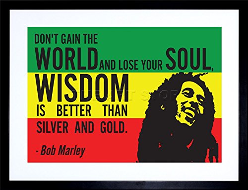 9x7 INCH BOB MARLEY RASTA GAIN WORLD WISDOM SOUL GOLD QUOTE TYPOGRAPHY FRAMED WALL ART PRINT PICTURE PAINTING WOODEN PHOTO FRAME BLACK WHITE OAK BROWN F97X205