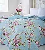 Grand COUNTRY COTTAGE SHABBY FLORAL Bleu Rose 240 260 chic Jeté de lit