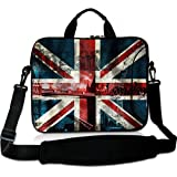 Wondertify 14-14.1 Inch Water-resistant Neoprene Laptop Shoulder Bag Sleeve Briefcase - London Bridge Union Jack Laptop Carrying Bag Case for Macbook Air/Pro/14 ThinkPad/Dell Inspiron/Toshiba
