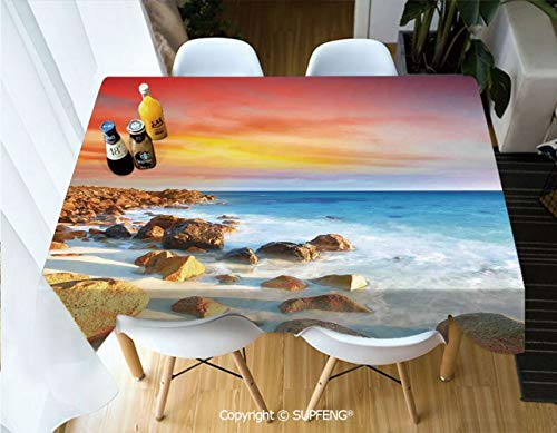 Picnic Tablecloth Sunrise Over Seashore Stone on The Foreground Caribbean Morning View Picture (55 X 72 inch) Great for Buffet Table, Parties, Holiday Dinner, Wedding & More.Desktop Decoration.Polyes