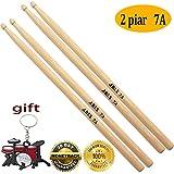 7a Drum sticks Wood Tip 7a drumsticks Maple drum sticks for kids youth (2 Pair Maple 7A Drumstick)