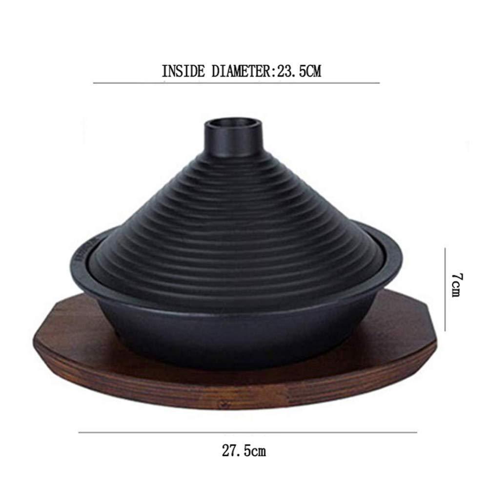Olla Marroqu/í Tagine Olla De Hierro Fundido Y Gres Terracota Tagine Cazuela Cacerola Negro,24cm