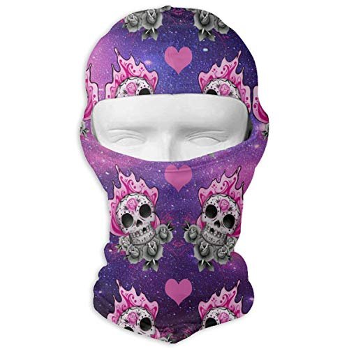 Leopoldson Sweet Pink Sugar Skull Art Balaclava UV Protection Windproof Ski Face Masks for Cycling Outdoor Sports Full Face Mask Breathable ()