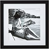 """Stone & Beam Black and White Reading by the Water Photo, Black Frame, 18"""" x 18"""""""