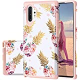 Fingic Galaxy Note 10 Plus Case, Pineapple Note 10 Plus Case, Floral Pineapple Slim Case Hybrid Hard PC & Soft Rubber Anti-Scratch Protective Case for Samsung Galaxy Note 10 Plus 6.8, Rose Gold