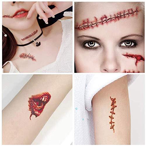 YIKEF Disfraces de Halloween Tatuajes de Zombis, Maquillaje para ...