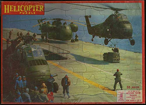 (Vintage Sikorsky Helicopter Tray Puzzle - 1960 Milton Bradley)