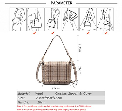 Grey Shoulder Ladies Messenger Bag Wool Female Bags Fashion Bag Bags Shoulder Crossbody Women Women For 6Uqq1
