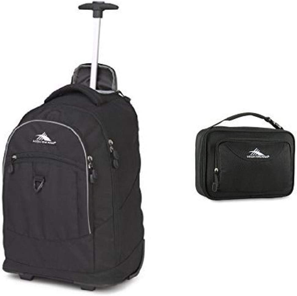 High Sierra Chaser Wheeled Backpack Backpack Black One Size and High Sierra Single Compartment Lunch Bag, Black