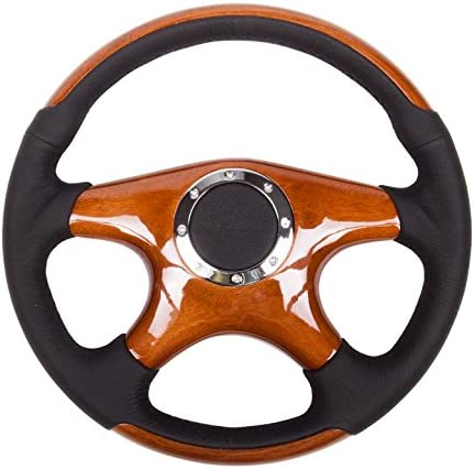 350mm, 4 Spoke Center in Wood, Leather Wheel NRG Innovations ST-085 Classic Grain Accents