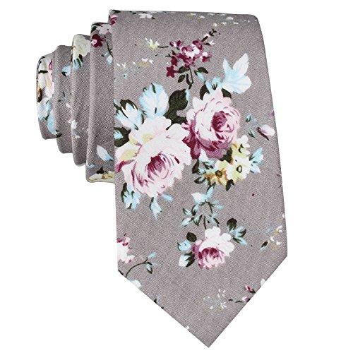 EasyJoy Skinny Ties Men's Cotton Printed Floral Necktie (color 16) Gray Floral Tie