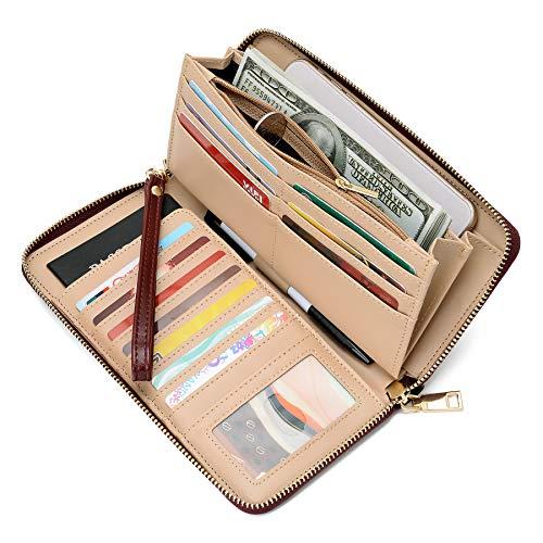 WOZEAH Women's RFID Blocking PU Leather Zip Around Wallet Clutch Large Travel Purse (C wine red)