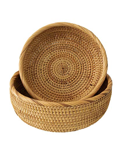 Wicker Bread Fruit Basket Bowl | Round Tabletop Rattan Woven Serving Bowls for Home and Restaurant (Set 2 Bowls) (Wicker Round Baskets)