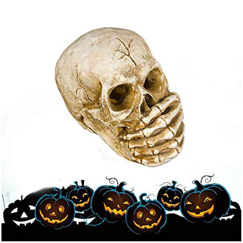 Shan-S Halloween Skull,Eyes Shine Lamp Holder Ornaments,